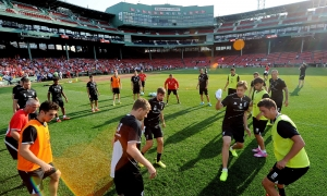 Reds train at Fenway Park